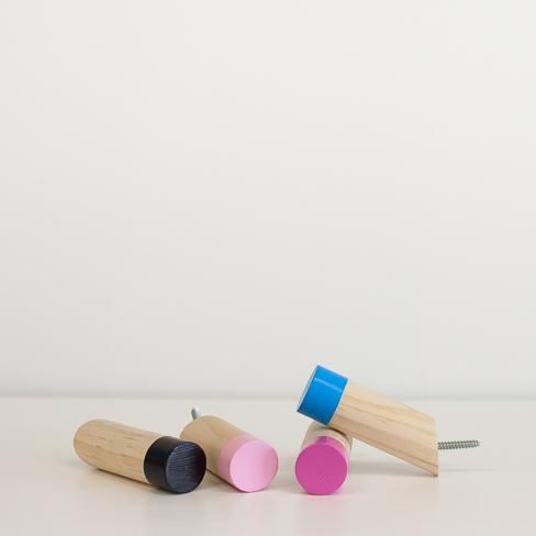 MAISY AND GRACE ANGLED WOODEN WALL PEG - PAINT DIPPED
