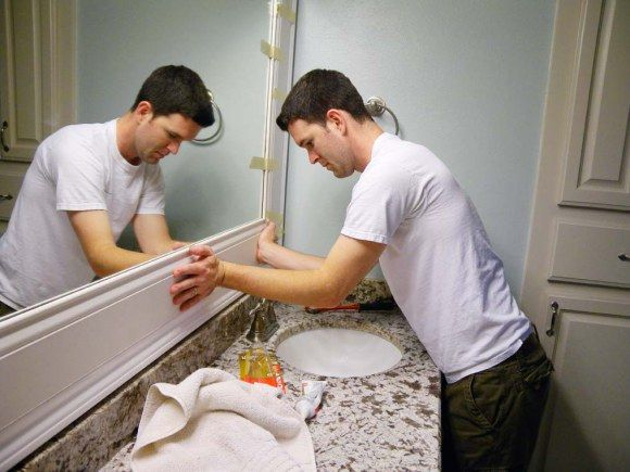 How to frame your bathroom mirror.