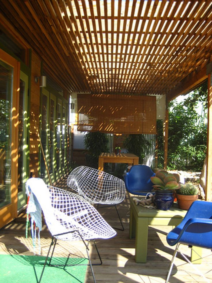 Architecture Low Cost Tasteful Covered Patio Design With White Webbing That  Have Metal Black Materials Legs And Calm Green Wood Table On The Brown Wood  ...