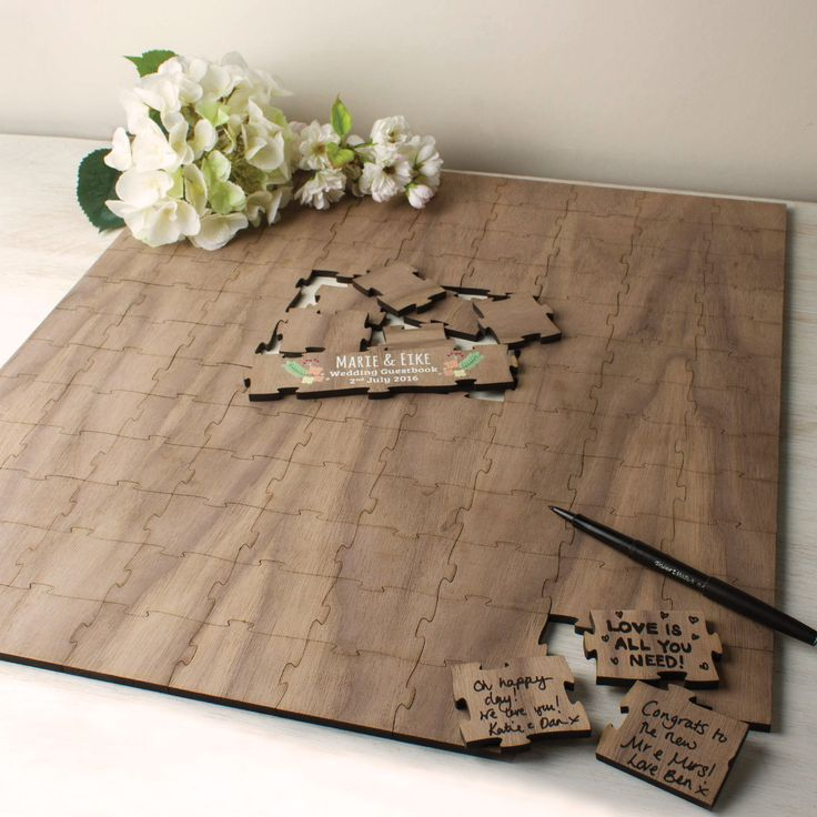 Personalised Wedding Guestbook Wood | Create Gift Love £85 Our beautiful wooden puzzle is a truly wonderful keepsake and unique alternative to a traditional wedding guest book. http://www.creategiftlove.co.uk/products/personalised-wooden-wedding-guest-puzzle-square #weddinggifts #guestbook #personalised #creategiftlove