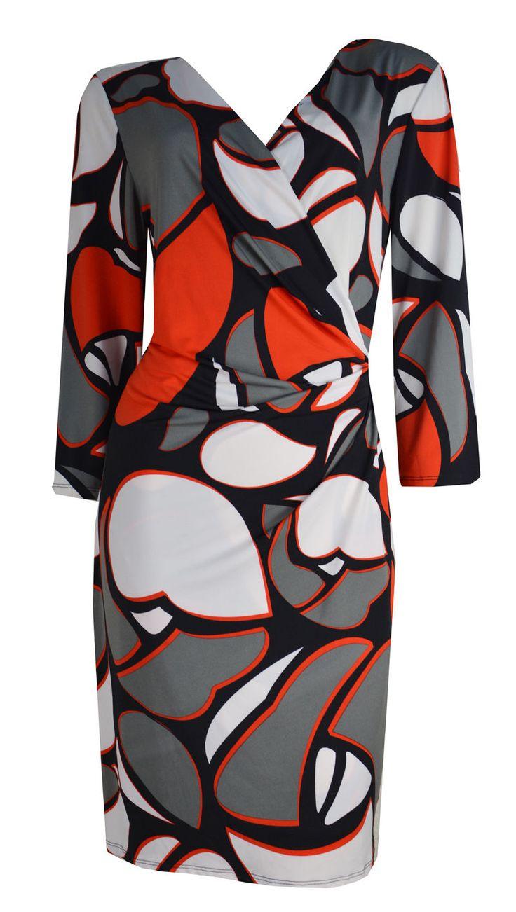 Leona by Leona Edmiston Orange Grey Black Stretch Dress Size 16   eBay