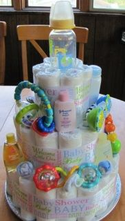 Three tier cake has approximately 54 size 1 or 2  brand name disposable diapers, which can be used. Decorated with gender neutral ribbon.  Topped with a 5 oz.  BPA Free feeding baby bottle, 3 rattles / teether toys, J&J travel size product: baby wash,  baby shampoo, baby powder & baby lotion.  Also includes 2 pairs of baby socks, 2 baby wash clothes and an additional two 5oz.  BPA FREE feeding baby bottles. Teethers and rattles may vary from those shown on picture.  Shipping and ...