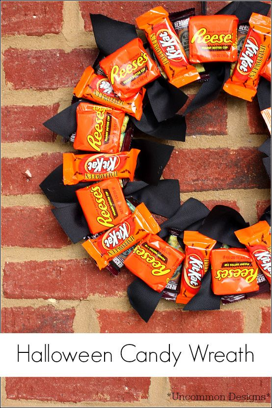 create this adorable halloween candy wreath for the trick or treaters or a special neighbor - Easy Halloween Candy Recipes