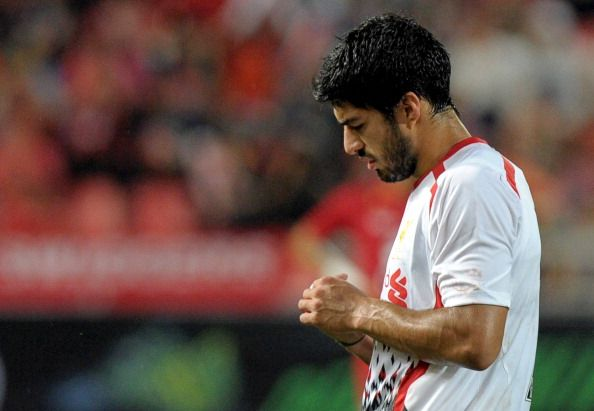 English Premier League, Liverpool football player Luis Suarez reacts during the match against Thailand at Rajamangala National Stadium in Bangkok on July 28, 2013