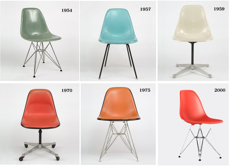 Eames Chairs And Bases Through The Years. The Stitching Pattern On The 1957  Side Shell