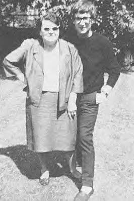 John Lennon with mother in law Lillian Powell.    John & Cynthia met in art school.  Married 23 August 1962, and John left her in 1969.