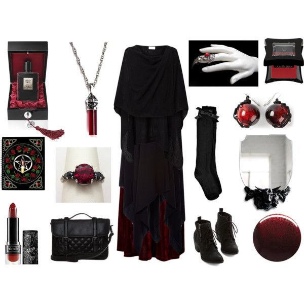 Blood Witch by maggiehemlock on Polyvore featuring mode, Linea, ADAM, Boohoo, Chicwish, even&odd, Maria Calderara, Kat Von D, Illamasqua and Kilian