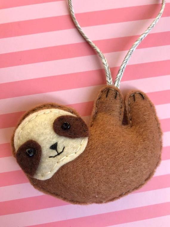 Handmade Felt Sloth Keychain  Keyring Decoration