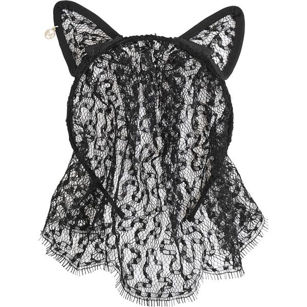 Maison Michel Cat Ears & Veil Lace headband ($495) ❤ liked on Polyvore featuring accessories, hair accessories, black, ears, headwear, hair, head wrap headbands, lace hair accessories, lace headwrap and hair band headband