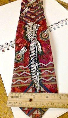 Vintage WHYKNOT Indian Head Dress Design Novelty 100% Silk Necktie