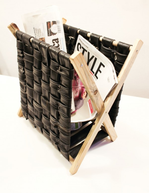 Magazine rack made with bicycle inner tubes