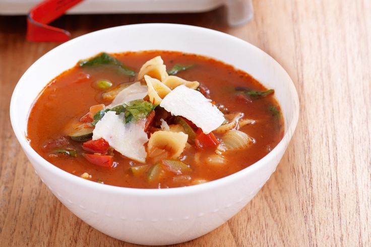 Enjoy robust tomato flavours and the best of autumn produce in this hearty vegetable soup.