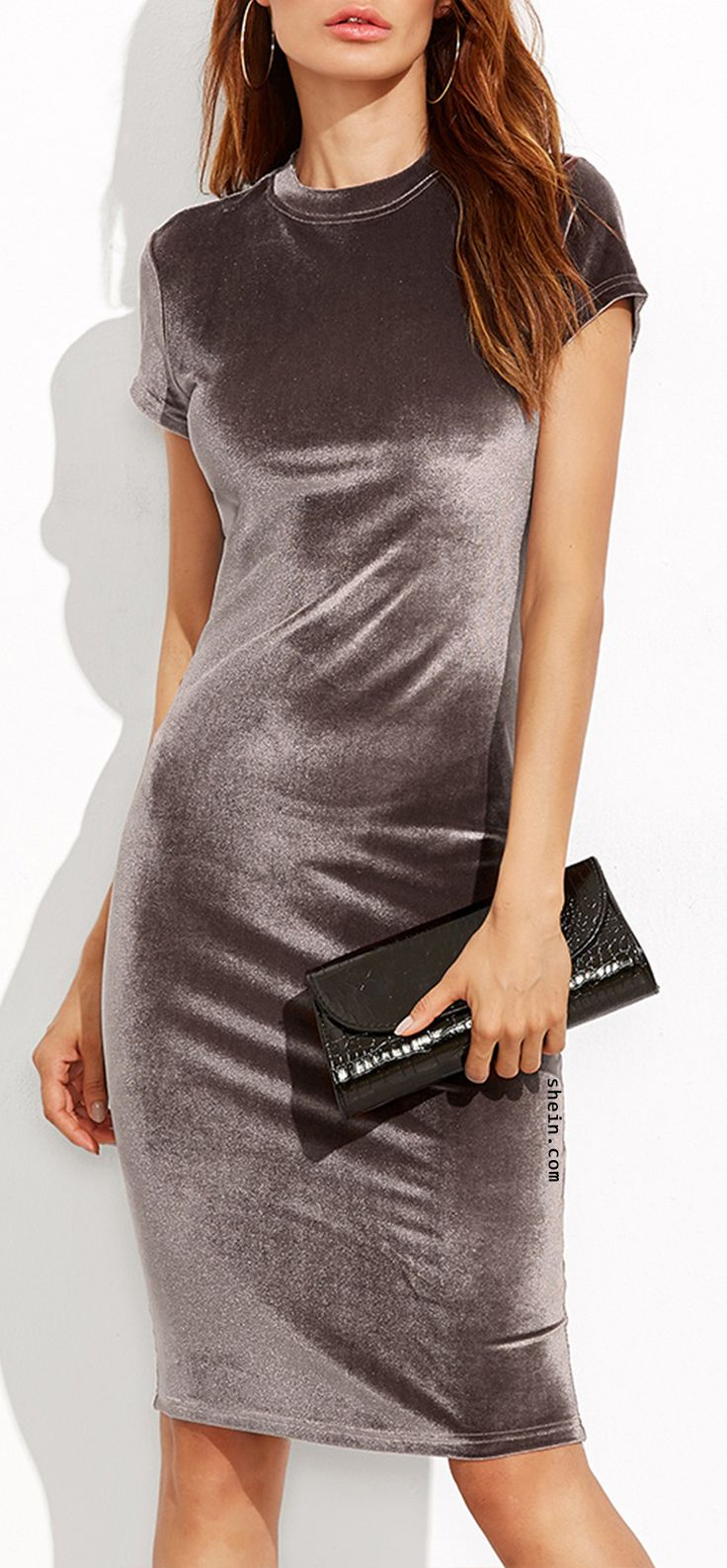 Hot haute fashion-velvet clothing. $9.9 for Brown Velvet Sheath Dress at shein.com.