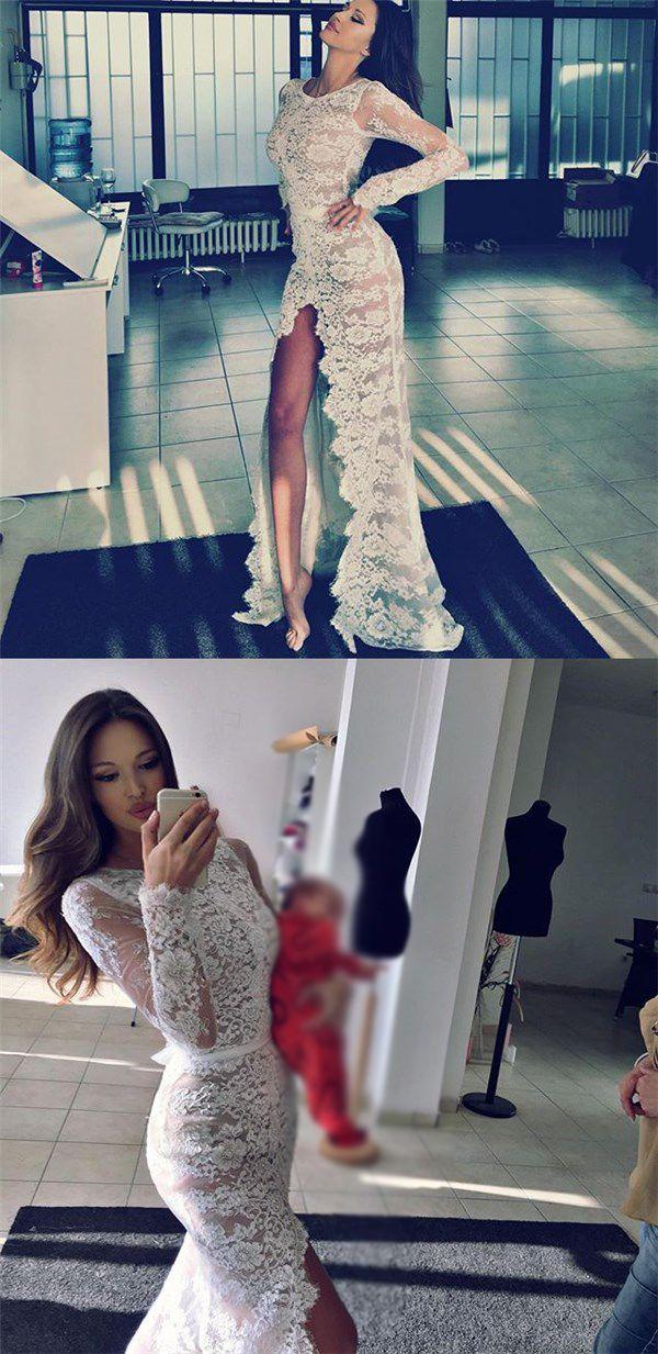 Full Lace Long Sleeves Side Split Mermaid Sexy Prom Dresses, Wedding Dresses, PD0360