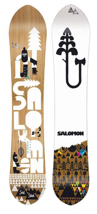 "Champion Graphics    Salomon     Snowboard design for Salomons new ""Slick Stick"" made from bamboo  http://championdontstop.com/site3/clients/saloman/salomon.html"