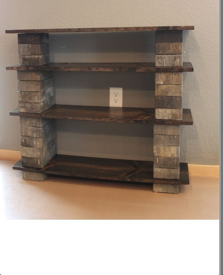 Easy, inexpensive book shelves...bricks, concrete ...