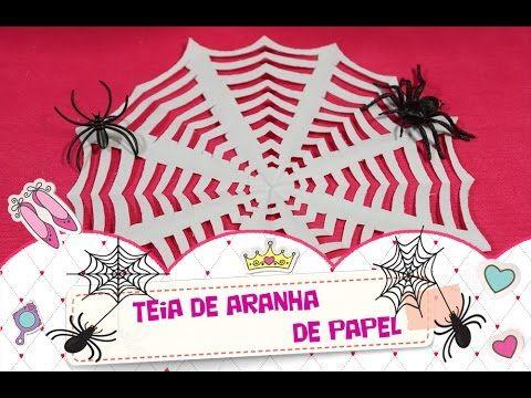 Teia de aranha de papel decorativa para festinha de Halloween (Dia das Bruxas). Para decorar e animar as festas do Dia das Bruxas (Halloween). Decoração para crianças.   #manualidades #diy #artesanato #handcraft #halloween #diadasbruxas