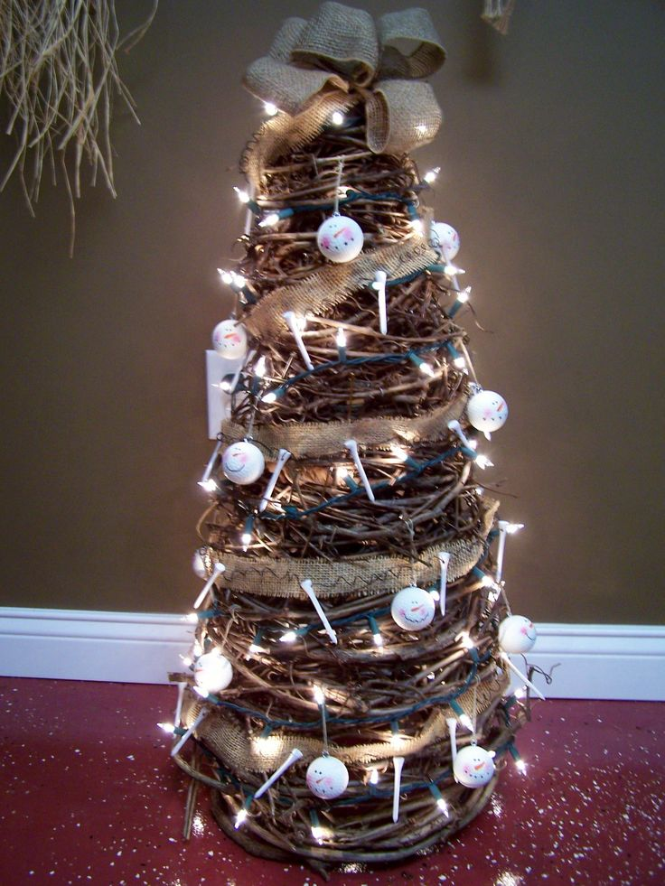 Porch Primitive Crafts | Golf themed 3ft grapevine tree with snowman golfball faces and burlap ...