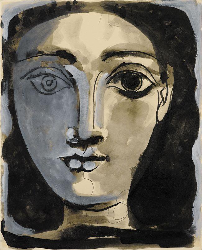 Portret van vrouw (1945) van Pablo Picasso, plakkaatverf en inkt