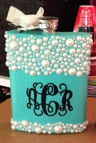 sorority sugar #monogram #pearls #flask #diy #crafts