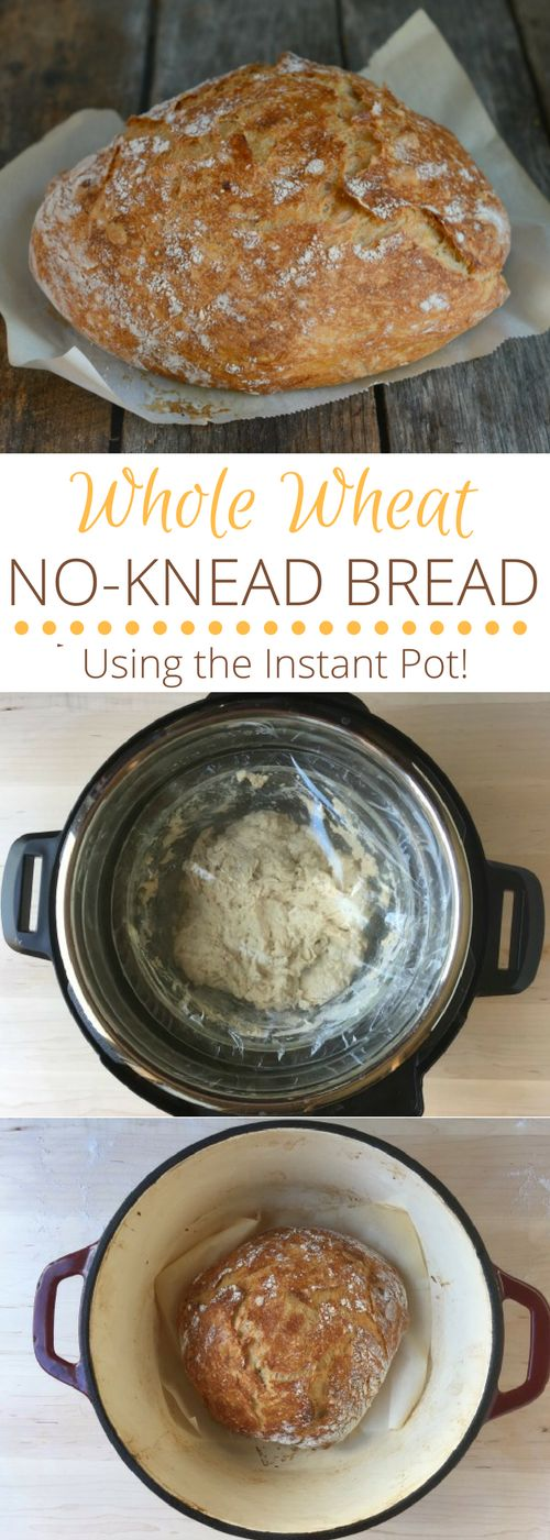 Whole Wheat No Knead Bread (Using the Instant Pot!) via @https://www.pinterest.com/rmnutrition/