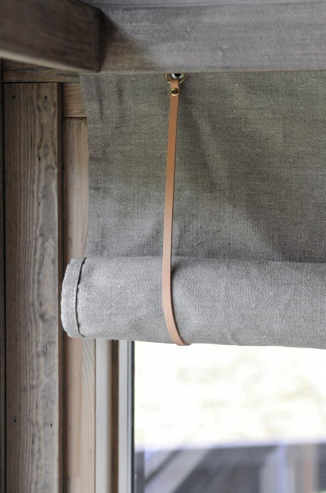 DIY window shade project with linen & leather strap