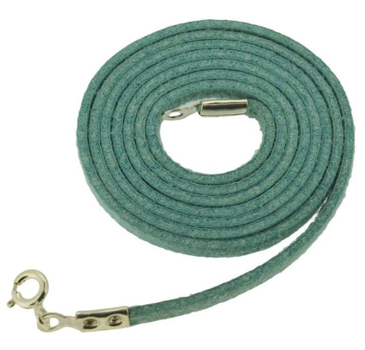 Handcrafted Suede Cord Green Color Bali Designer 925 Sterling Silver Necklace
