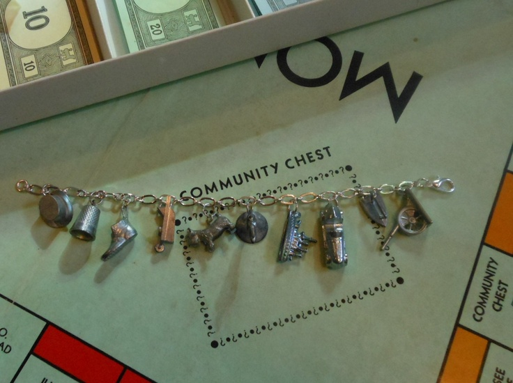 Charm bracelet made from old Monopoly pieces