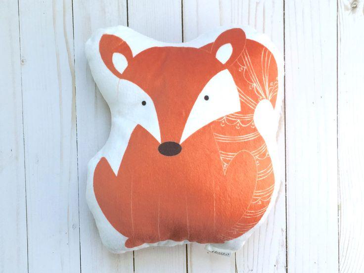 Fox Plush Animal Pillow Woodland Nursery Decor Handmade Decorative Cushion Kids Bedding Forest Nursery Theme Unique Baby Shower Gift by cleverbetty on Etsy https://www.etsy.com/listing/254012136/fox-plush-animal-pillow-woodland-nursery