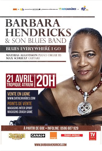 Barbara Hendricks et son Blues Band Vous aussi intégrez vos événements dans l'Agenda des Sorties de www.bellemartinique.com C'est GRATUIT !  #martinique #Antilles #domtom #outremer #concert #agenda #sortie #soiree