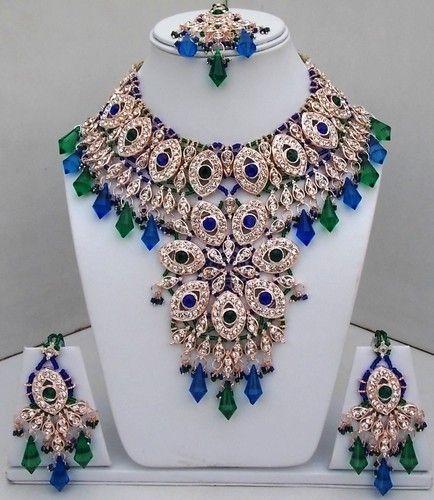 "keyword ""rani""= I probably love it. Indian Bollywood Style Kundan Diamante Huge Rani Necklace Set Fashion Jewelry 88 | eBay"