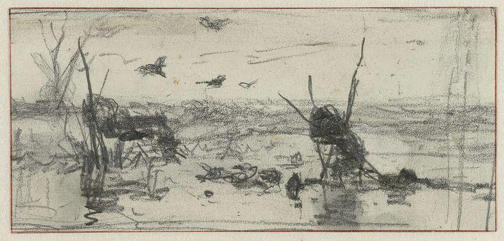Eendenkooien in een waterpartij, Willem Roelofs (I), 1832 - 1897