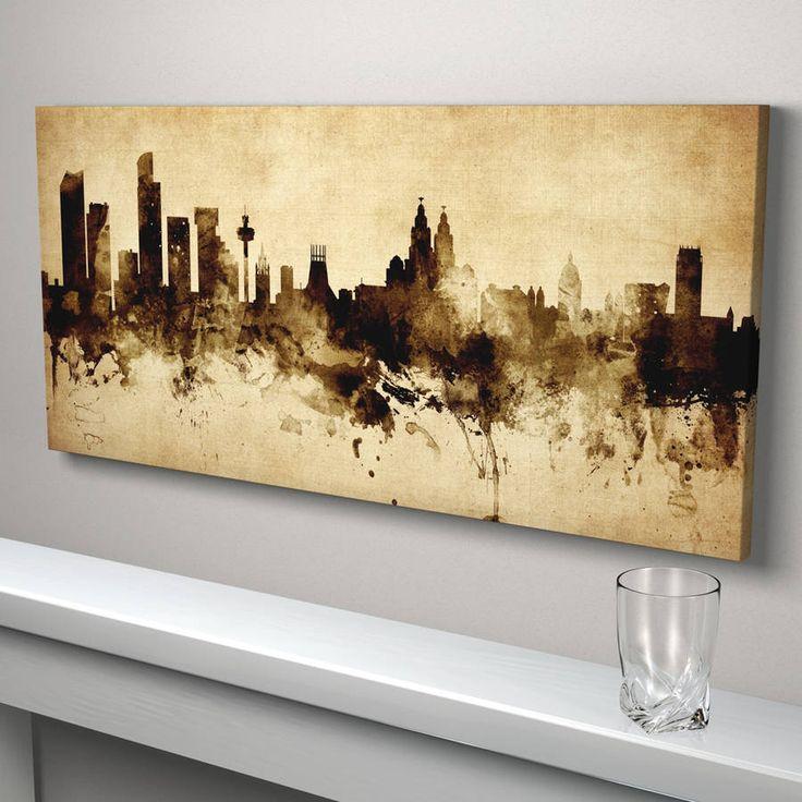 Liverpool skyline cityscape vintage art print vintage