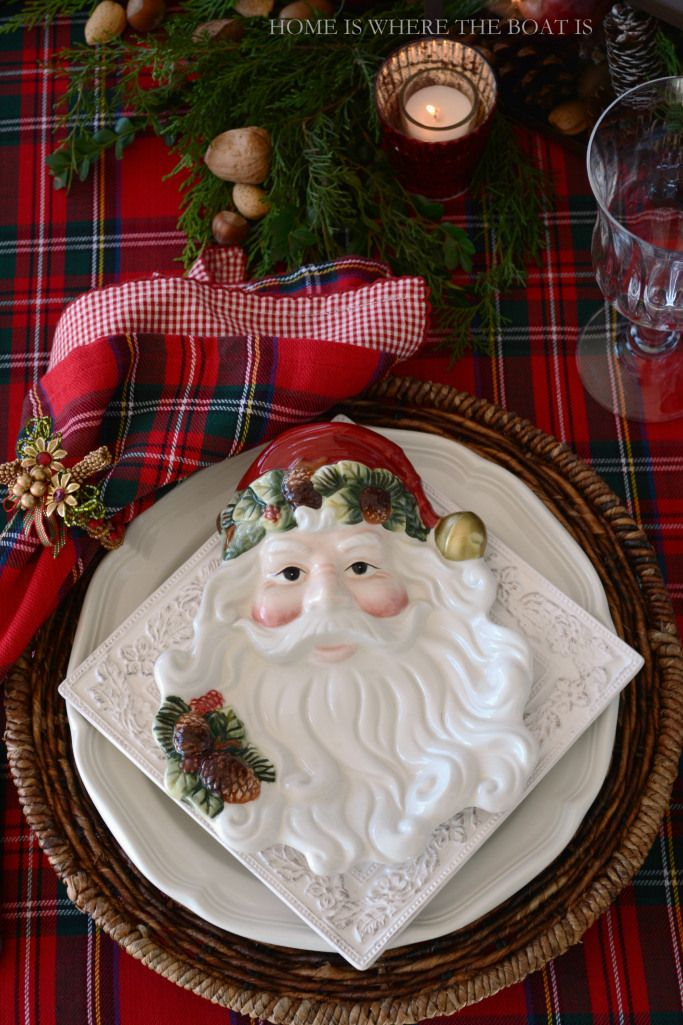Santa Plates on top of Pfaltzgraff Country Cupboard Dinnerware