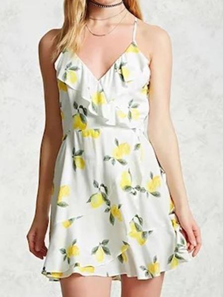 White V-Neck Ruffle Lemon Print Lace Up Skater Dress