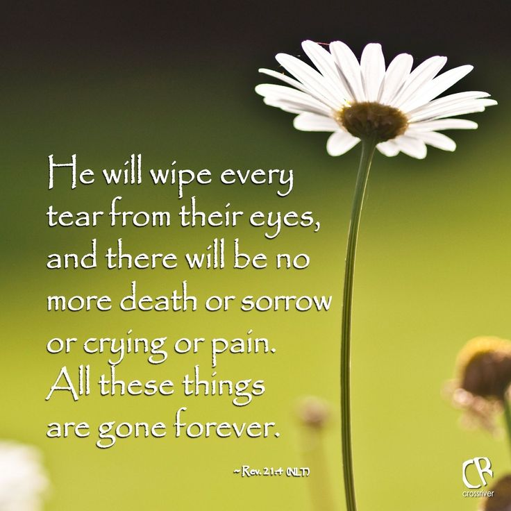 He will wipe every tear from their eyes, and there will be no more death or sorrow or crying or pain. All these things are gone forever. - Revelation 21:4 #NLT #Bible verse | CrossRiverMedia.com