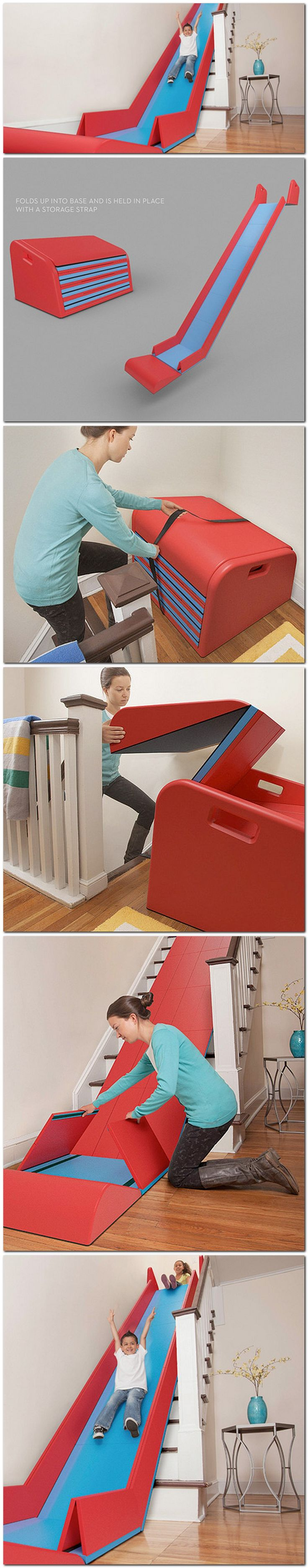 Staircase slide? Need! For myself I mean the kids. If only my stairs were straight like that