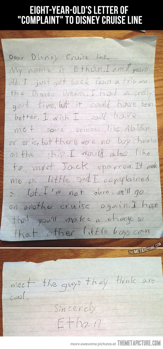 Eight-year-old's letter of complaint…yeah! Why aren't the princes there?? I'd complain, too.