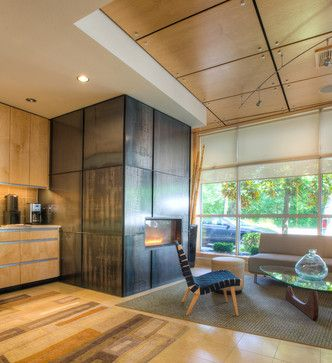 Plywood Ceiling Design Ideas, Pictures, Remodel, and Decor. Ash plywood with stainless steel mounts