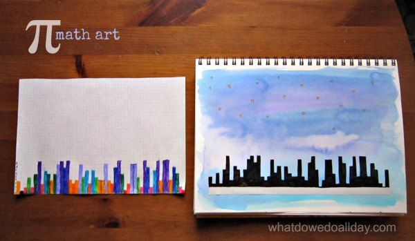 Blend math and art with kids and use pi to make city skyline art