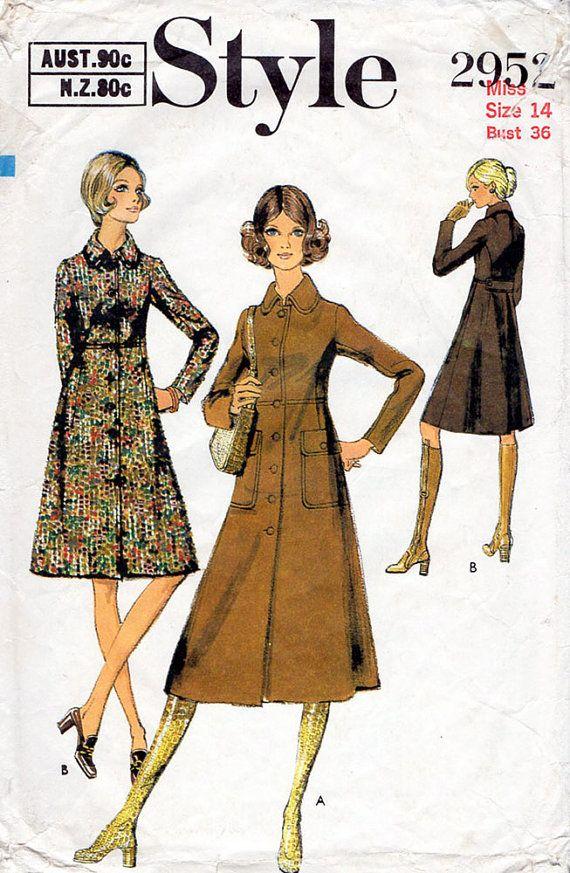 1970er Jahre mod Mantel Muster Style 2952 von BessieAndMaive