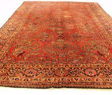 Antigua alfombra Jugendstil persa, alfombra de reimportación Americana (EE.UU.), Lilian, de alrededor de 1910/1920, hecha en Irán, colores naturales, 260cm x 360cm