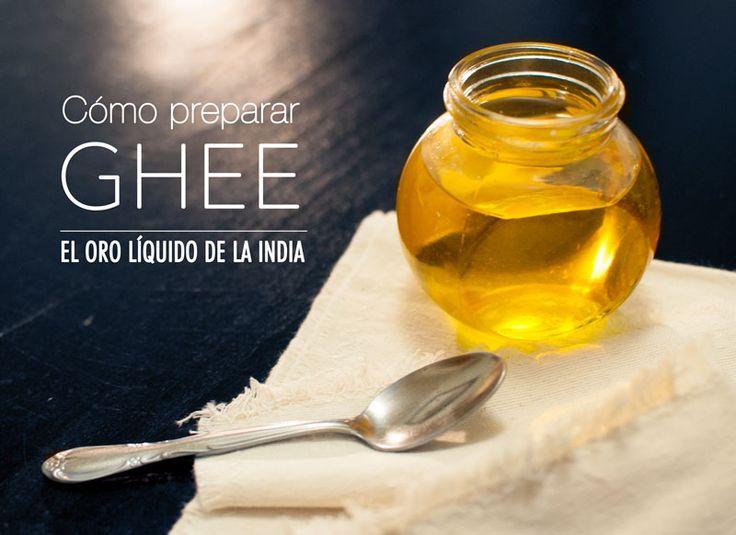 Aprende a preparar ghee o mantequilla clarificada. Por milenios el ghee, o mantequilla clarificada, o mantequilla que se le ha quitado la caseína y la lactosa, se ha considerado como el oro líquido de la India. Su aportación a la salud y a la práctica del Yoga nace de su poder para nutrir los