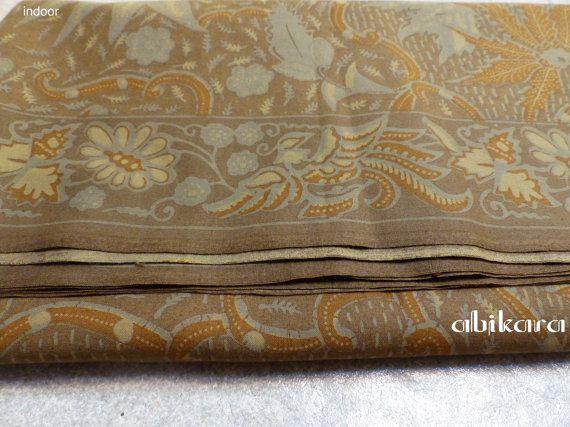 Batik Fabric / Javanese / Cotton / Brown Olive / by Abikara