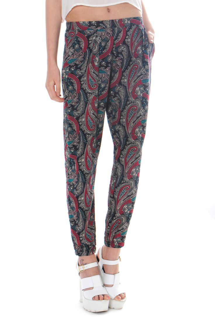 Blue And Claret Paisley Print Trousers on Glamorous
