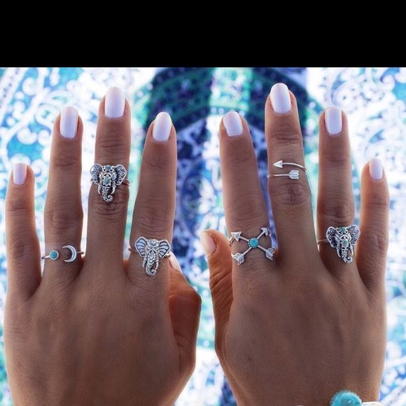 6pcs Elephant Moon Arrow Ring Set Anillos Midi Elephant Moon Arrow Ring Set Anillos Midi Finger Ring Knuckle anelli Rings Jewelry Rings