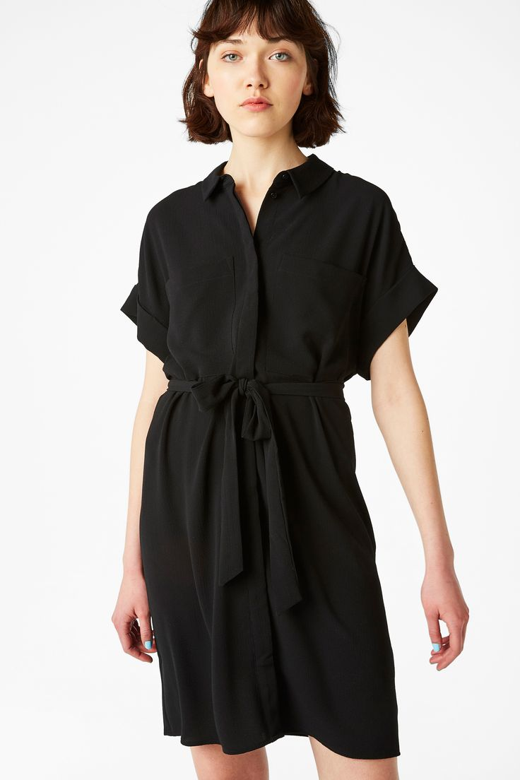 Monki Image 2 of Tunic shirt dress  in Black