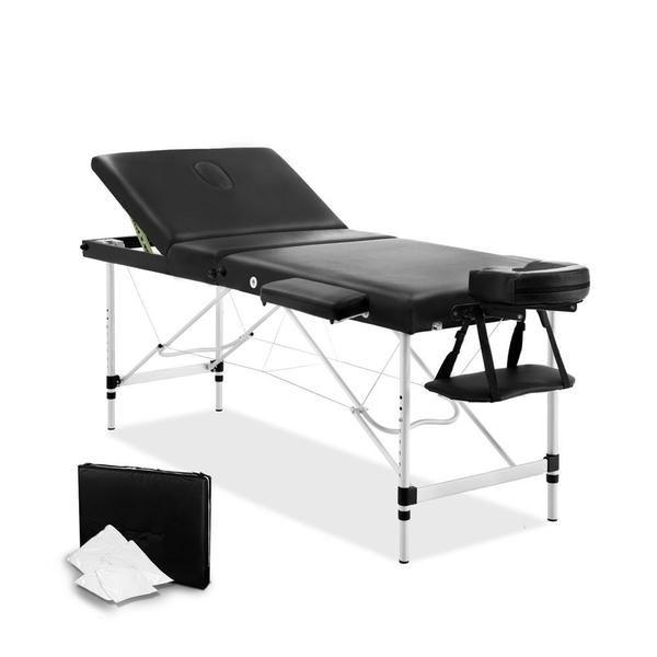 Portable Aluminium 3 Fold Massage Table Chair Bed Black 60cm – Click Online Sales