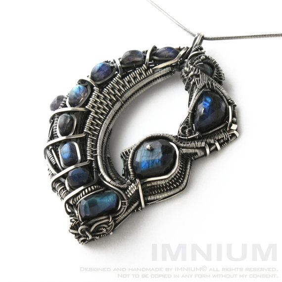 Quantum leap - biomechanical statement pendant - sterling and fine silver, labradorite