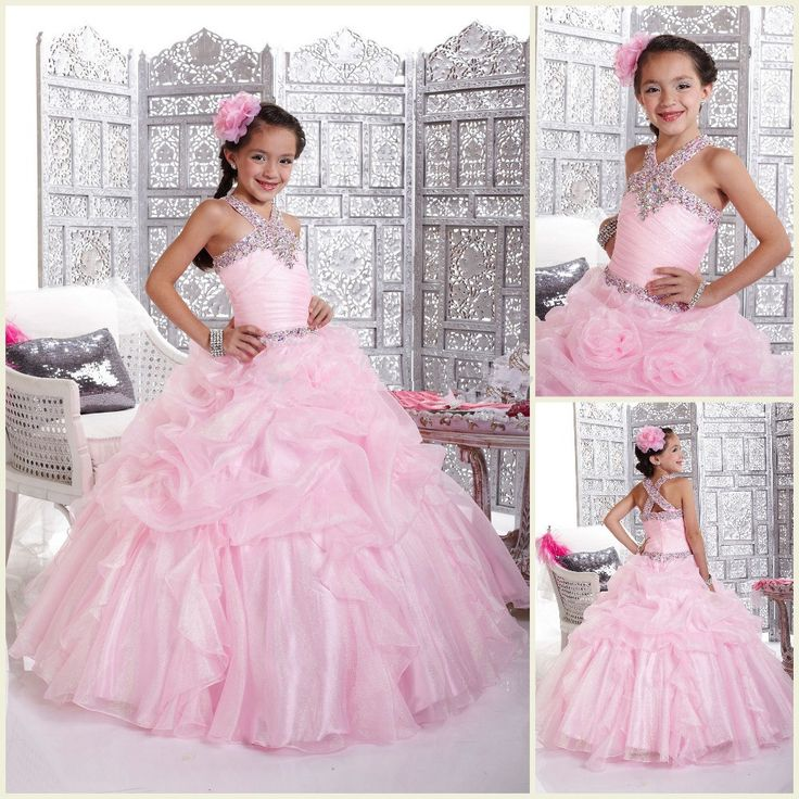 Pink Flower Girl Dresses Princess Kids Pageant Party